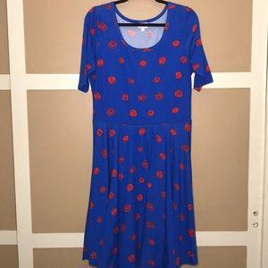 LuLaRoe 2X Nicole Blue and Red Dress